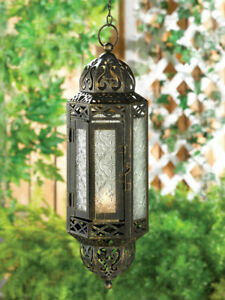 "13"" Black Moroccan Hanging Candle Holder Lantern Chandelier Light Lamp Terrace"