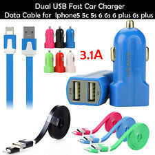 Dual USB Fast Car Charger Charging cable for Iphone 5 5c 5s 6 6s 6 plus 6s plus