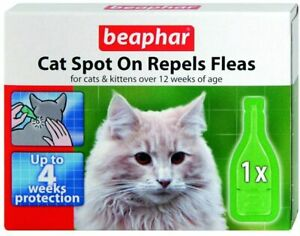 Spot On Cats Kitten Repels Fleas Ticks Lice 4 Weeks Protection Treatment BEAPHAR