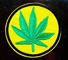 MARIJUANA WEED CANNABIS LEAF IRON ON EMBROIDERED PATCH 7cm x 7cm BUY 2 GET 1 FRE