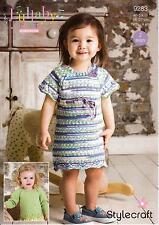 Stylecraft 9283 Knitting Pattern Baby Child Dress & Sweater Lullaby Print & DK
