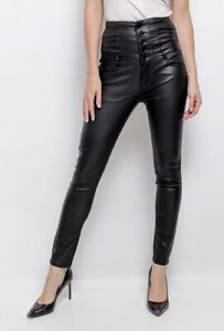 Daisy Haut Taille Simili Cuir Optique Skinny Jeans Pantalon Tube Gr.32-38