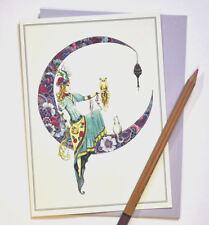 La tarjeta de cumpleaños soñador, Henna Estilo, artista del Reino Unido con búho y gato, en blanco.