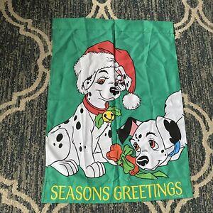 1996 Disney Christmas 101 Dalmatians Seasons Greetings Double Sided Garden Flag