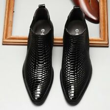 Mens Snakeskin Pattern Shiny Patent Leather Business Ankle Boots Formal Shoes sz