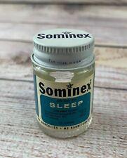 "Vintage Sominex Sleep Clear Glass Medicine Bottle with Metal Lid 2"""