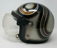 Vintage Motorcycle Helmet Meets Bubble Shield Painted Graphics