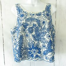 New $128 Anthropologie Moulinette Soeurs Top 12 Blue Embroidered Sequin Crop