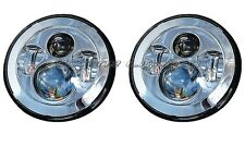 "7"" Chrome 6500K Projector Daymaker HID LED Light Bulb Headlight Headlamps Pair"