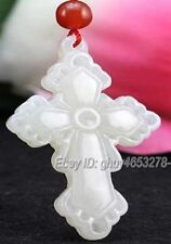 Natural White Afghan Jade Carved Chinese Flower Cross Pendant + Rope Necklace