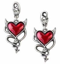 Alchemy England - Devil Heart Stud, Earrings, Gothic, Punk Horns, Evil Love Gift