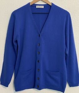 Vintage Ballantyne/Berk 100% Cashmere Cardigan Sweater Size 38 Blue