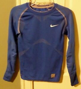 NIKE PRO LONG SLEEVE TIGHT COMPRESSION SHIRT, BLUE, YOUTH SZ S (4-6) FAST SHIP!