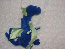 "ITRENOR STUFFED PLUSH ROYAL BLUE LIME GREEN DRAGON 12"" 2006 WISHPETS WISH PETS"