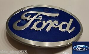 Ford Belt Buckle , Blue Enamel Fill Pewter Finish US Seller f-150 mustang truck