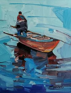 JOSE TRUJILLO Oil Painting IMPRESSIONISM CONTEMPORARY BOAT FISHING FIGURE NR