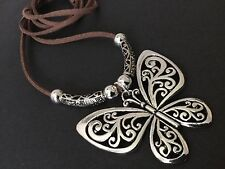Bijoux long brown suede statement necklace with large antique silver butterfly
