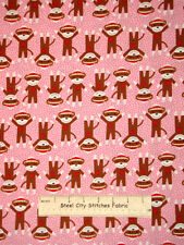Robert Kaufman Critter Club Sock Monkey Monkeys Girl Pink Cotton Fabric YARD