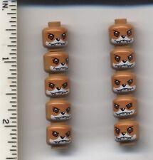LEGO x 10 Medium Dark Flesh Minifig, Head Dual Sided Alien Chima Fox Furty 70111