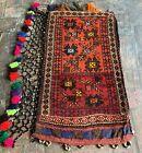 Hand Woven Made Vintage Afghan Salt Bag / Pillow Cover Area Rug 3 x 2 (22088)