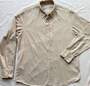 MASSIMO DUTTI Men's Beige Thin Corduroy Shirt XL 100% Cotton Long Sleeves Casual