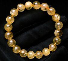 Crystal Round Beads Bracelet Aaa 9.5mm Natural Yellow Citrine Quartz