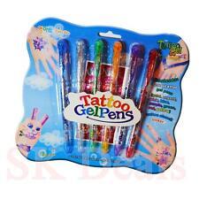 Kids Gel Tattoo Pens Safe Fun Craft Decoration Glitter Pens Set for Kids Fun