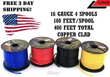 16 GAUGE 100 FT SPOOLS COPPER CLAD REMOTE POWER GROUND WIRE CABLE PRIMARY 4 Pack