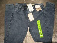 Femmes Extensible Rangée ourlet High Denim Fente Dos Effet Vieilli Jeans
