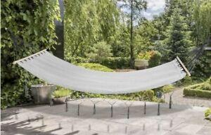 Fringed Hammock Grey Single hanging chair Patio Swing Outdoor ✅ Free P&P