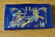 Egyptian Leather Wallet/Purse -Gold Embossed King Tut in Chariot -BLUE - NEW