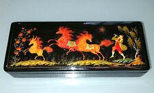 FINE RUSSIAN Lacquer Box Vintage Estate Fairy Tale Humpbacked Horse