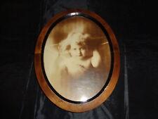 Superb Edwardian Sepia 'Cupid Awake' Baby Photo Print Oval Framed