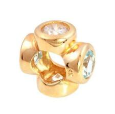 Whiz Aquamarine 9ct 9K Solid Gold Bead Charm FITS EURO BRACELETS 30 Day Returns