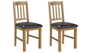 Pair of Solid Oak Slatted Chairs