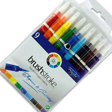 9 X BRUSH STROKE COLOURING PENS FELT TIP DRAWING PAINTING MARKERS
