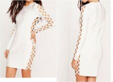 30181f2e3b4b MISSGUIDED PREMIUM Bandage Lace Up Bodycon Dress White UK 6 US 2 EU 34  (camg121