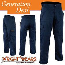 Uomini lavorano Pantaloni Cargo Blu Navy più tasche in cotone e poliestere 245gsm w:32 - l:33