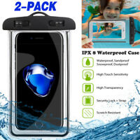 2 PACK Glow in the Dark IPX8 Universal Waterproof Phone Pouch Case Dry Bag-Clear