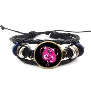 Pink Boxing Gloves Glass Cabochon Bracelet Braided Leather Strap Bracelets