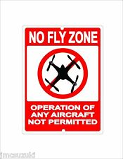 DRONE NO FLY ZONE METAL SIGN QUAD COPTER AIRCRAFT NOT PERMITTED 9X12 9 X 12""