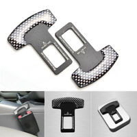 2pcs Carbon Fiber Car Safety Insert Seat Belt Buckle Alarm stopper Eliminator