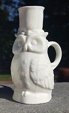 """4.25"""" Vintage OWL CANDLE HOLDER with Finger Handle White Porcelain/Ceramic"""