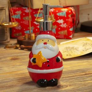 Novelty Ceramic Santa Soap Dispenser Christmas Ornament Bathroom Decoration
