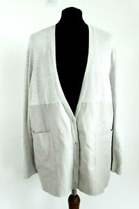 Zara Knit Neuf avec Étiquette Beige Clair Gris Simili Cuir Femme Pull Taille S