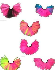 Neon Pink Sparkle Tutu Skirt Hen Party 80s Fancy Dress Fun Run Green Black Blue