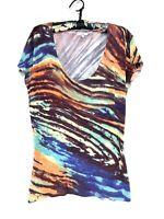 Cache Multicolor Wavy Artsy Print Stretch Knit Scoop Neck Short Sleeve Top Sz L