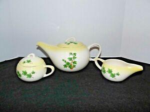 Vintage Ceramic Ivy Design Coffee Pot With Matching Sugar Bowl & Creamer Set