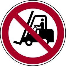 Aufkleber Verbot für Gabelstapler und andere industrielle Fahrzeuge 100mm