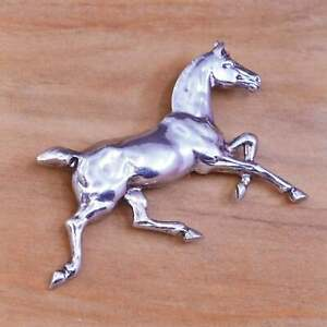 Vintage handmade sterling 925 silver horse brooch pin